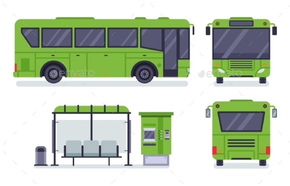 Flat City Bus - Man-made Objects Objects