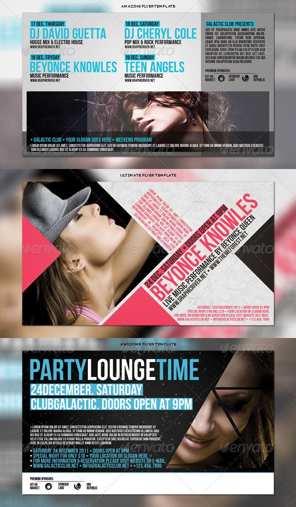 Party Flyers Bundle 3in1 #7 - Flyers Print Templates