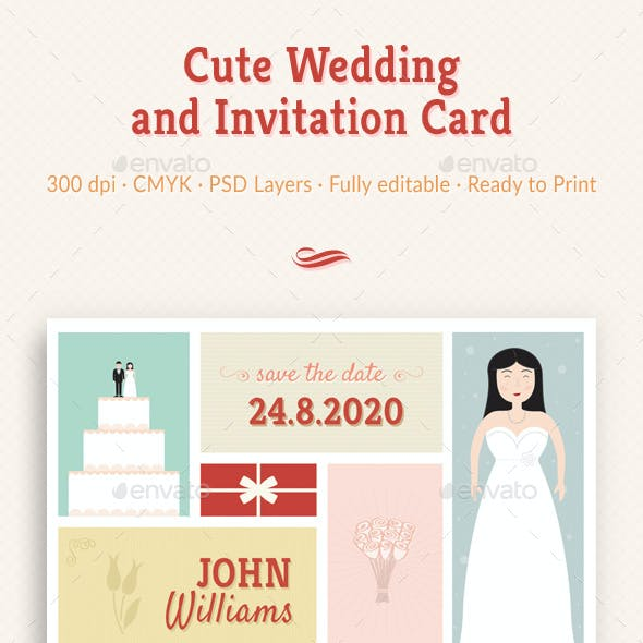 Cute Wedding and Invitation Card