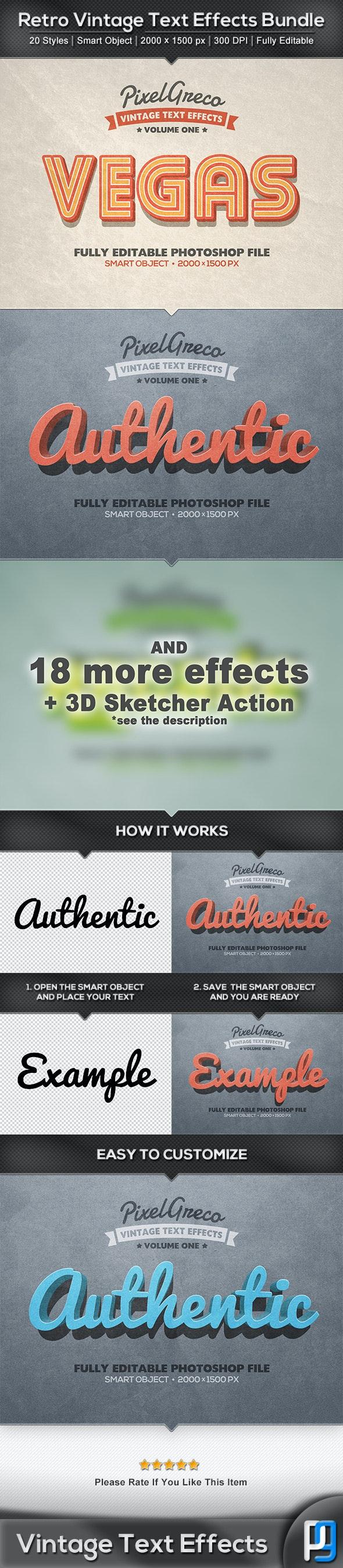 20 Retro Vintage Text Effects Bundle + Photoshop Action - Text Effects Actions