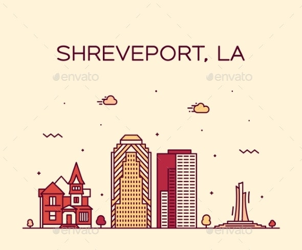Shreveport Skyline Louisiana USA Vector City Line - Buildings Objects