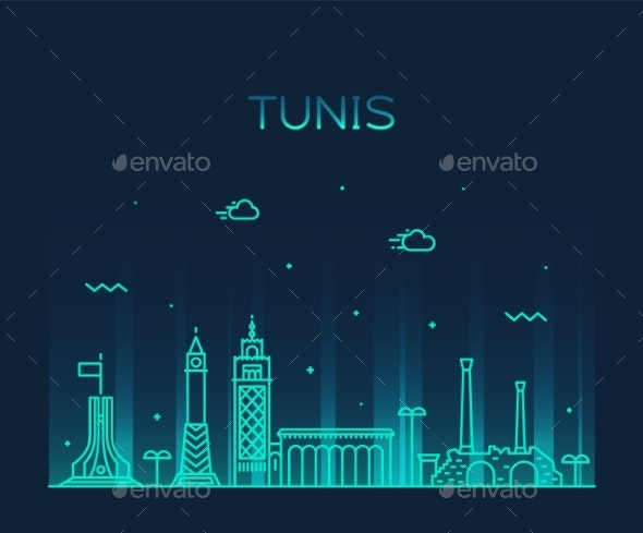 Tunis Skyline Tunisia Trendy Vector Linear Style - Buildings Objects