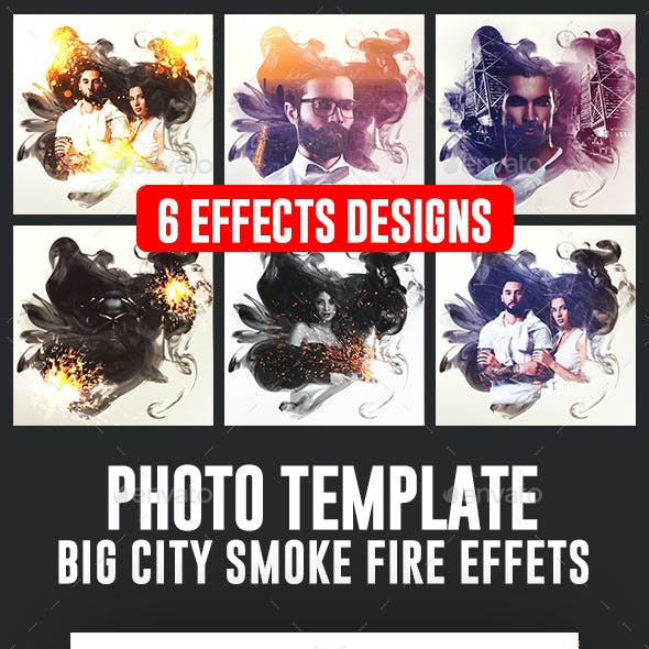 Smoke Double Light Fire Photo Frame Template