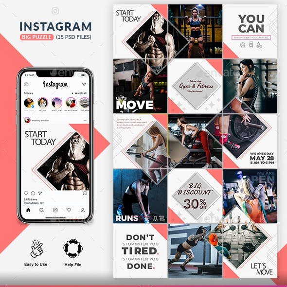 Fitness GYM Instagram Puzzle Templates