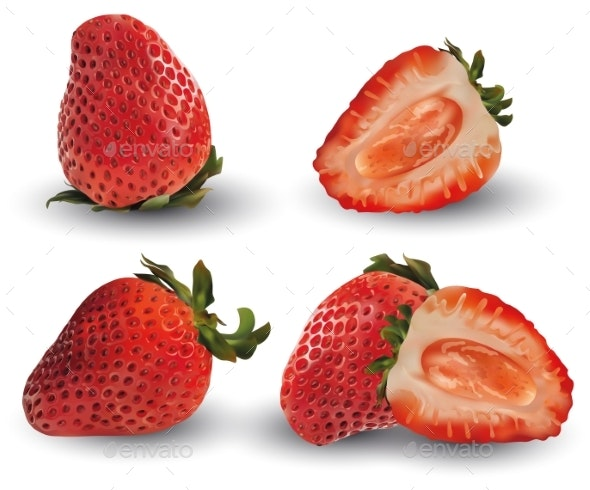 Set of Strawberry Realistic - Food Objects