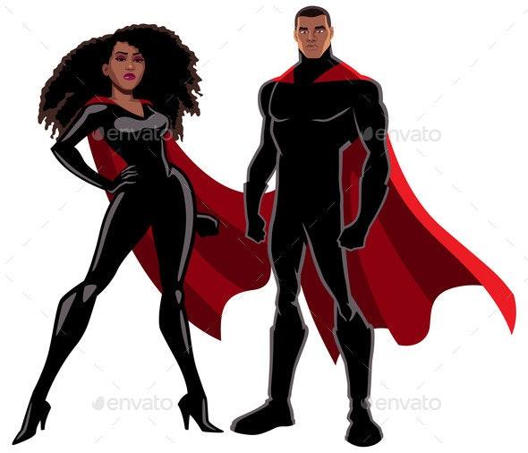 Superhero Couple Black on White - People Characters