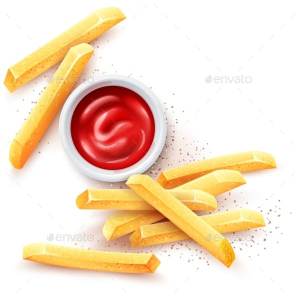 French Fries and Ketchup Tomato Sauce