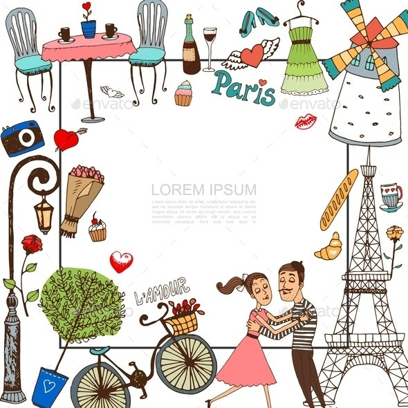 Hand Drawn Paris Template - Food Objects