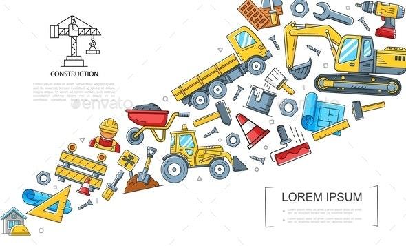 Linear Construction Colorful Concept - Miscellaneous Vectors