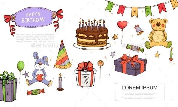 Hand Drawn Birthday Elements Concept - Birthdays Seasons/Holidays