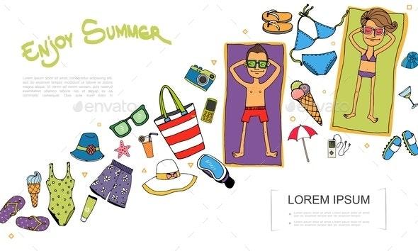 Hand Drawn Summer Vacation Concept - Miscellaneous Vectors