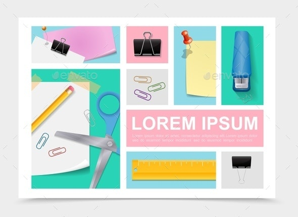 Colorful Stationery Collection - Miscellaneous Vectors