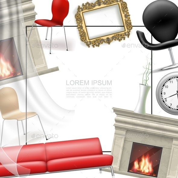 Realistic House Interior Objects Template - Miscellaneous Vectors