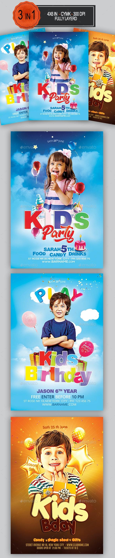 Kids Birthday Flyer Bundle - Clubs & Parties Events