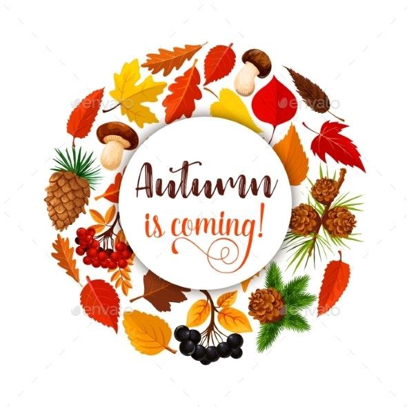 Autumn Leaf Poster for Fall Nature Season Design - Seasons Nature