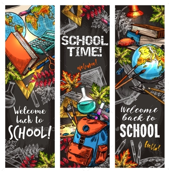 Back to School Banner Set for Education Design - Miscellaneous Conceptual