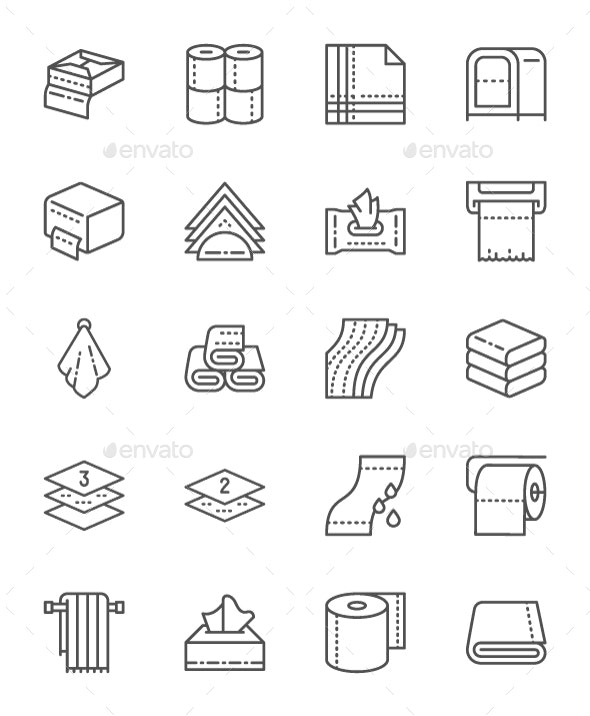 Set Of Towels And Napkins Line Icons. Pack Of 64x64 Pixel Icons - Objects Icons