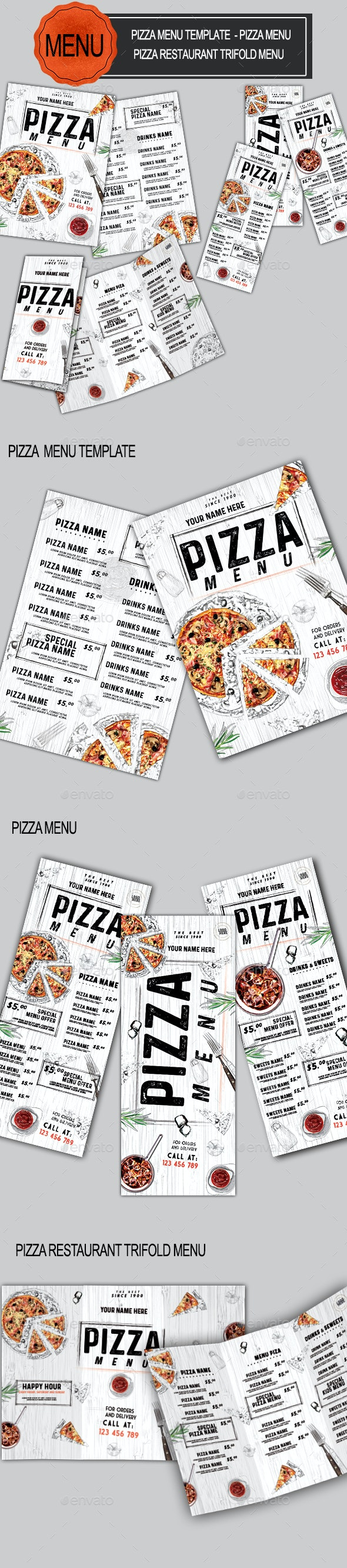 Pizza Food Menu Bundle - Food Menus Print Templates