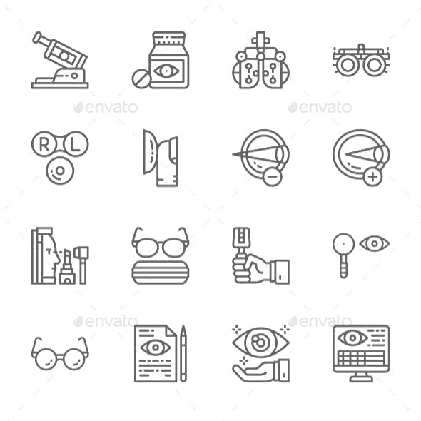 Set Of Optometry Line Icons. Pack Of 64x64 Pixel Icons
