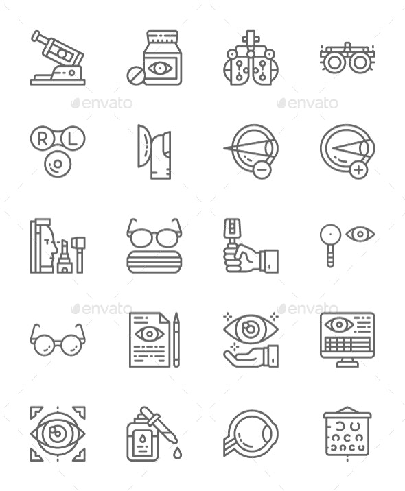 Set Of Optometry Line Icons. Pack Of 64x64 Pixel Icons - Objects Icons