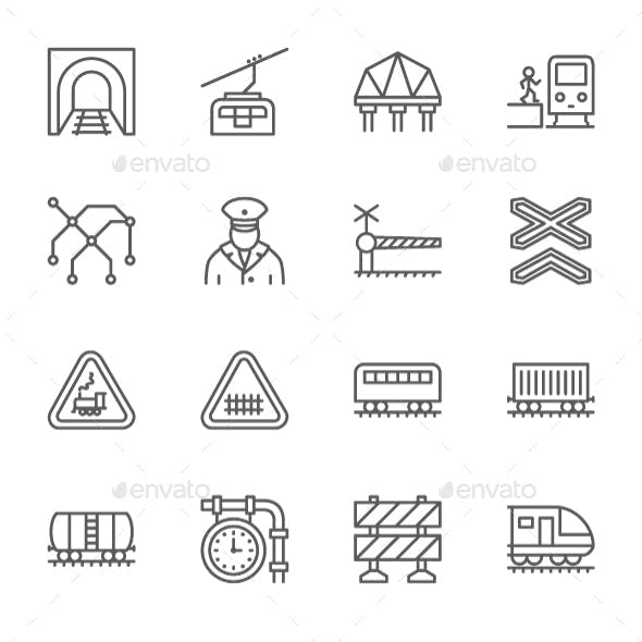 Set Of Train And Railways Line Icons. Pack Of 64x64 Pixel Icons