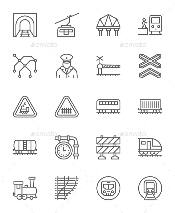 Set Of Train And Railways Line Icons. Pack Of 64x64 Pixel Icons - Objects Icons