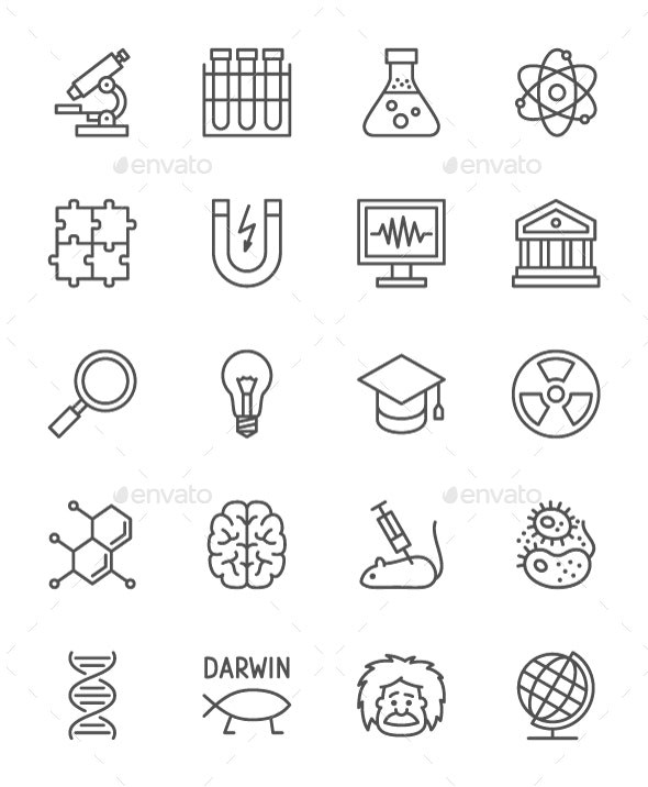 Set Of Science Line Icons. Pack Of 64x64 Pixel Icons - Abstract Icons
