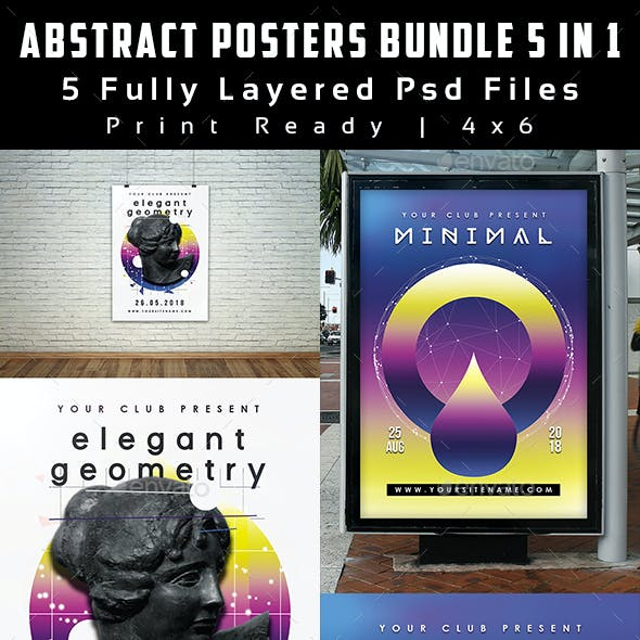Abstract Posters Bundle 5 in 1