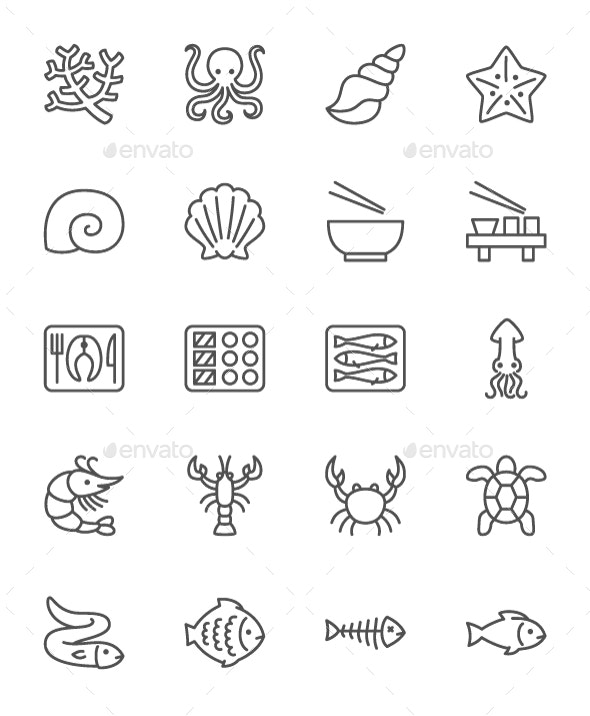 Set Of Fish And Seafood Line Icons. Pack Of 64x64 Pixel Icons - Food Objects