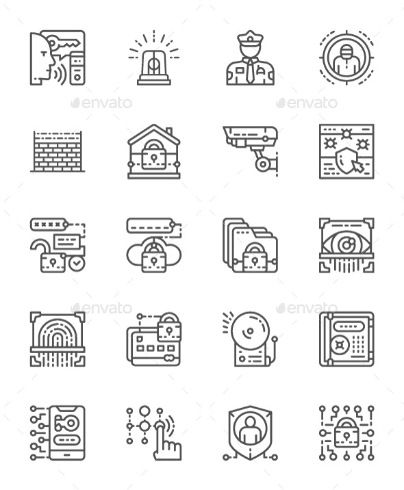 Set Of Security Service Line Icons. Pack Of 64x64 Pixel Icons - Business Icons