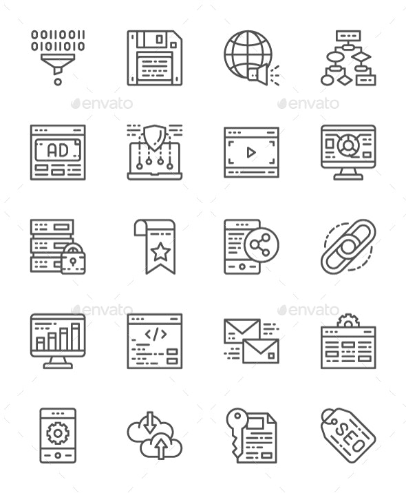 Set Of SEO And Marketing Line Icons. Pack Of 64x64 Pixel Icons - Business Icons