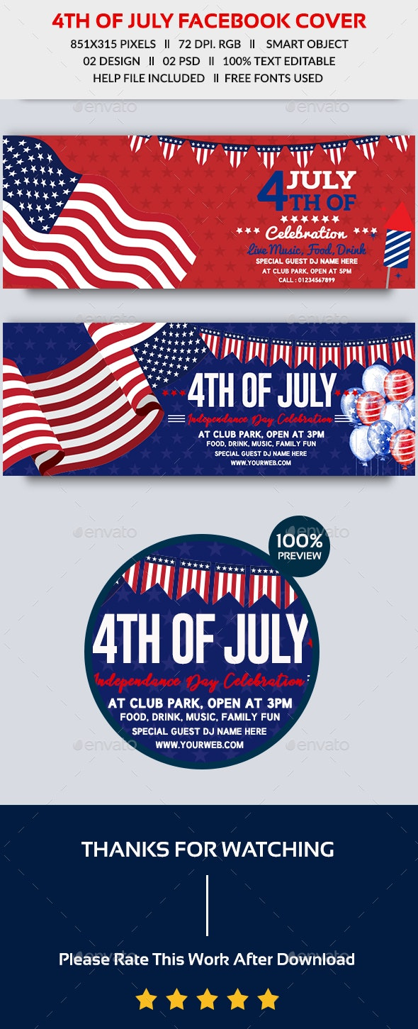 4th of July Facebook Cover-2 Design- Image Included - Facebook Timeline Covers Social Media