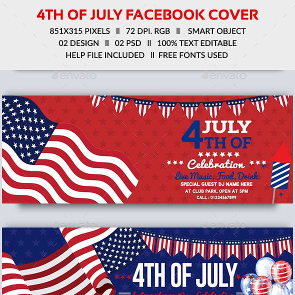 4th of July Facebook Cover-2 Design- Image Included