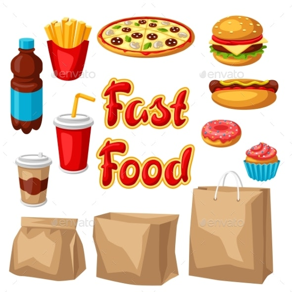 Set of Fast Food Meal - Food Objects