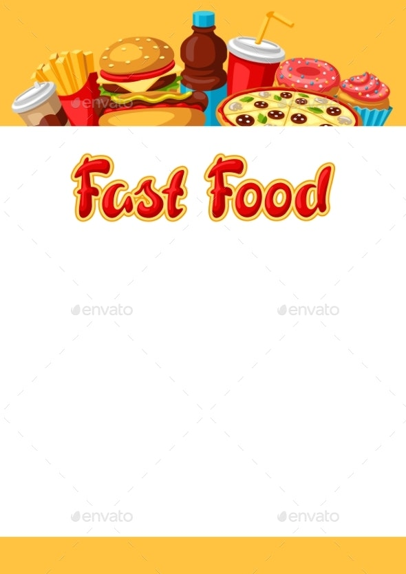 Background with Fast Food Meal - Food Objects