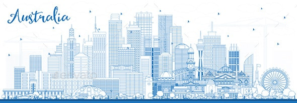 Outline Australia City Skyline with Blue Buildings - Buildings Objects