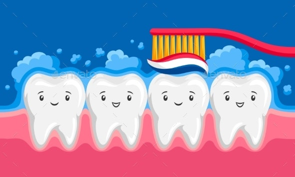 Illustration of Smiling Clean Teeth Brushing Paste - Health/Medicine Conceptual