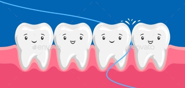 Illustration of Smiling Are Flossing in Oral - Health/Medicine Conceptual