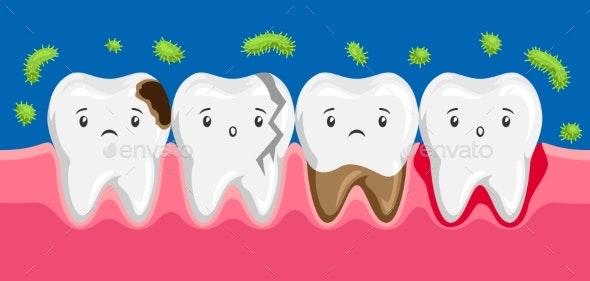 Illustration of Sick Teeth in Oral Cavity - Health/Medicine Conceptual