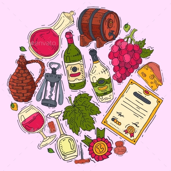Wine Taste Club Round Pattern Vector Illustrations - Food Objects