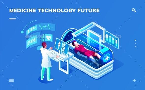 Futuristic Medicine Diagnostic Room with Doctor - Health/Medicine Conceptual