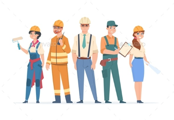Builders and Engineers Characters - People Characters