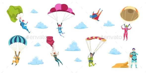 Cartoon Skydivers - Sports/Activity Conceptual