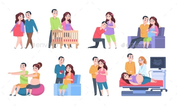 Couple Pregnancy Characters - People Characters