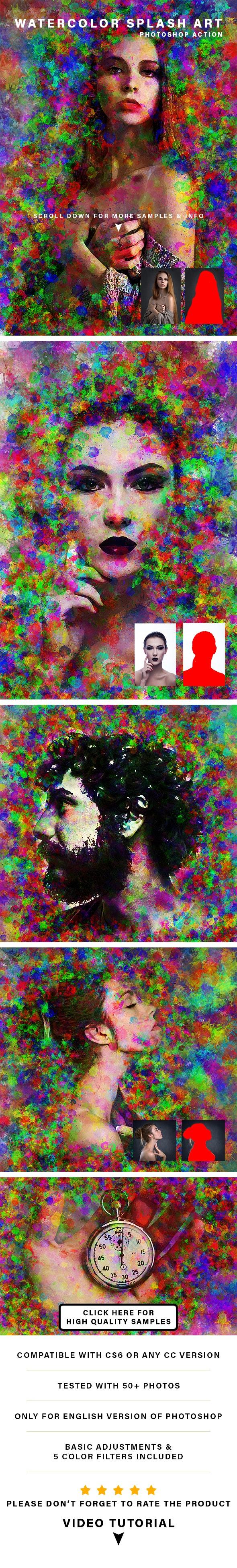 Watercolor Splash Art Action - Photo Effects Actions
