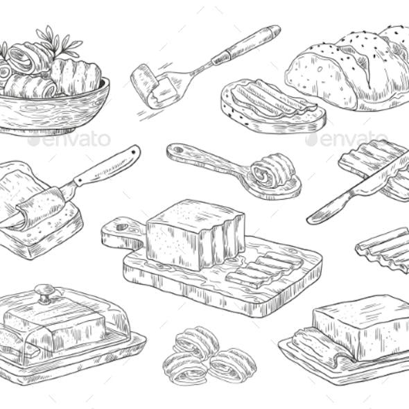 Hand Drawn Sketch Breakfast Culinary