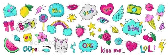 Doodle 90s Stickers - Miscellaneous Vectors
