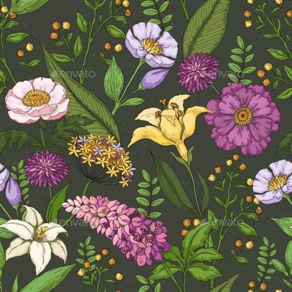 Hand Drawn Flower Pattern - Flowers & Plants Nature