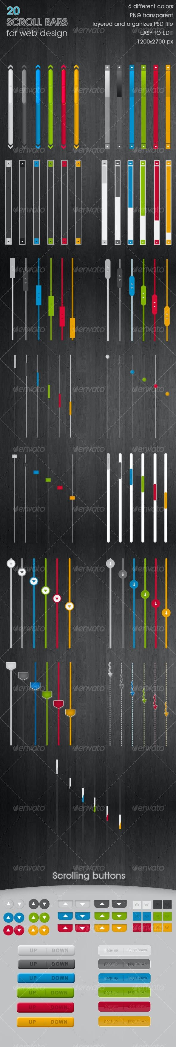 20 cool Scroll Bars - 6 colors - Web Elements