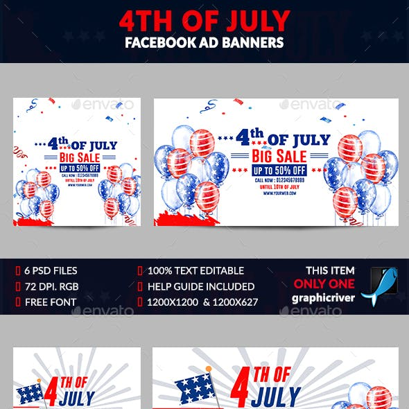 4th of July Facebook Ad Banner-6 Design-Image Included